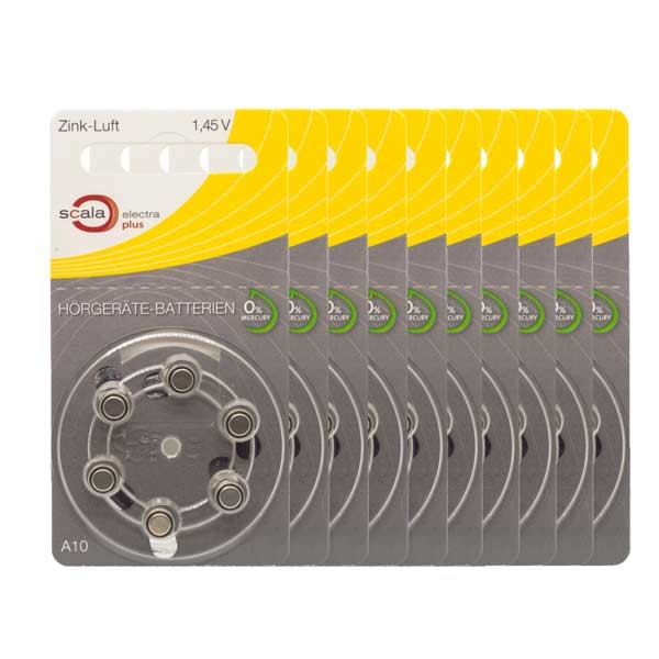 Sparpack 60 x scala A10 Hörgerätebatterien