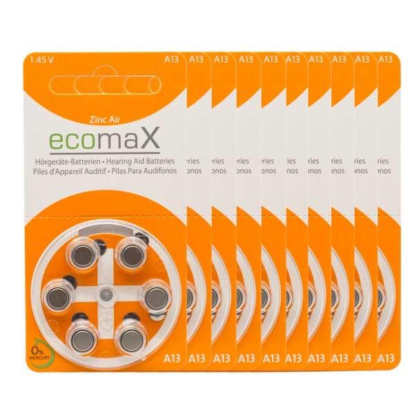Sparpack 60 x ecomaX A13 Hörgerätebatterien
