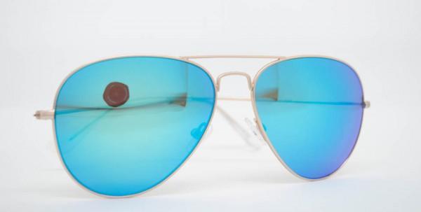 Meißburger Pilotenbrille Metall blau/grün verspiegelt
